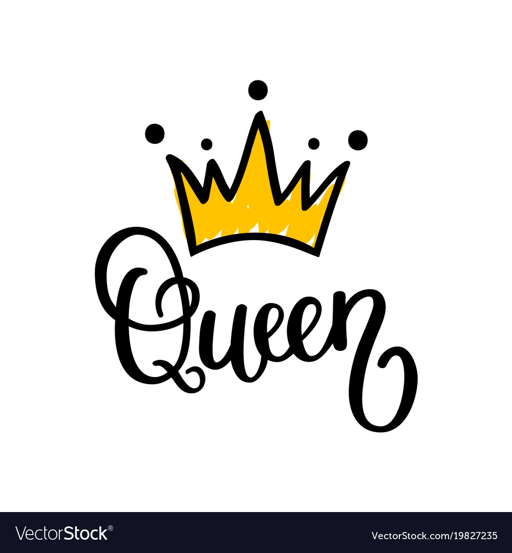 queen crown calligraphy design royalty free vector image