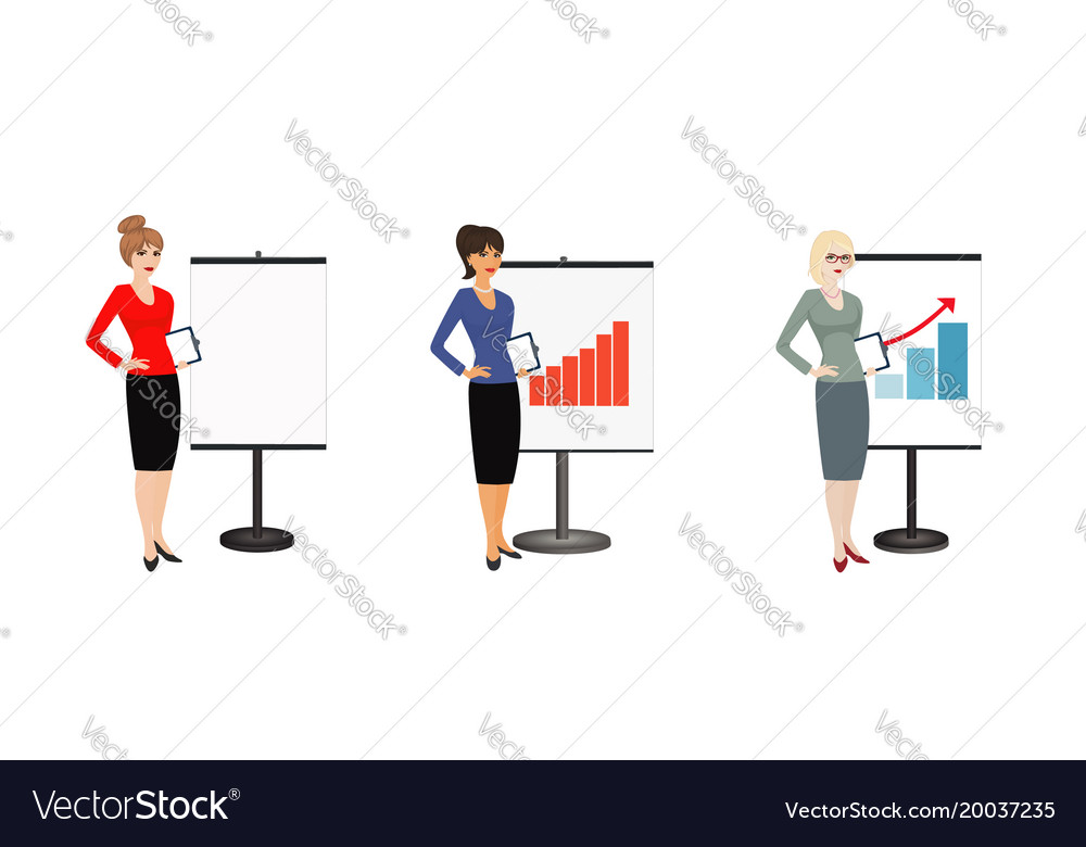 Set of character business woman on background of