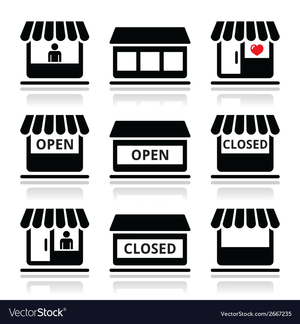 Shop or store supermarket icons set