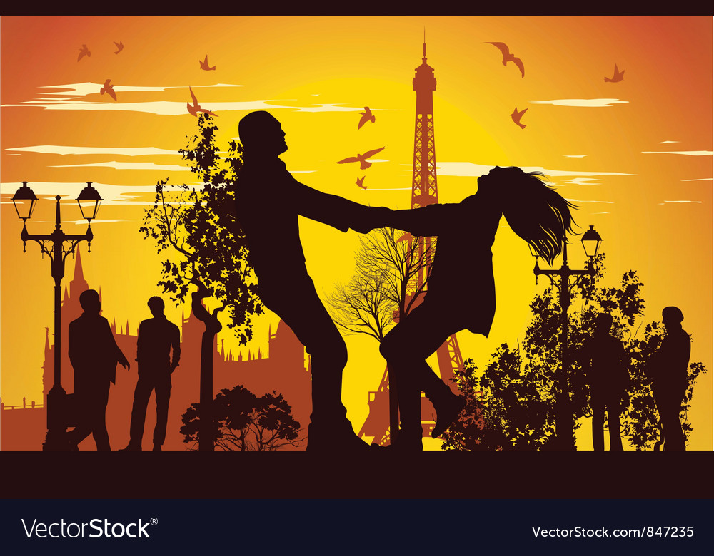 Swirling in Paris vector image