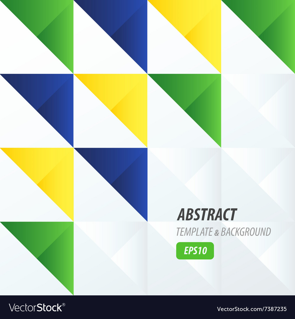 Triangle pattern design yellow blue green vector image