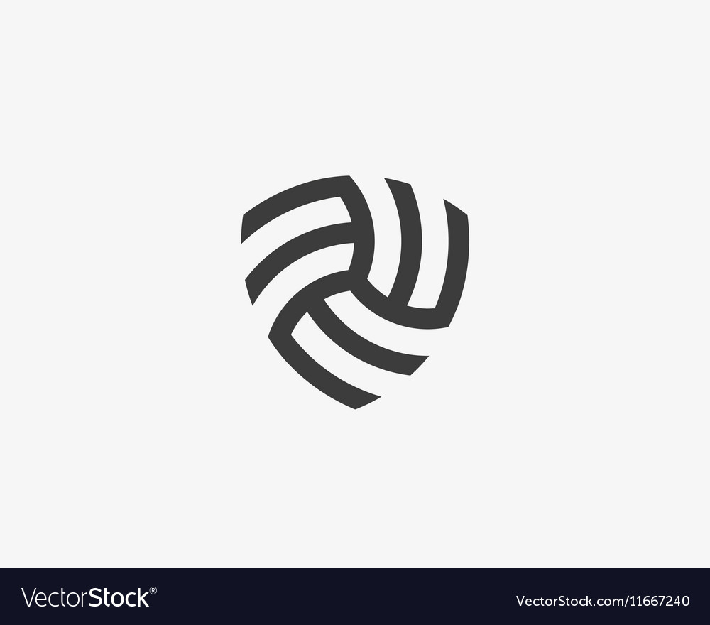 abstract linear infinity shield logo design vector image