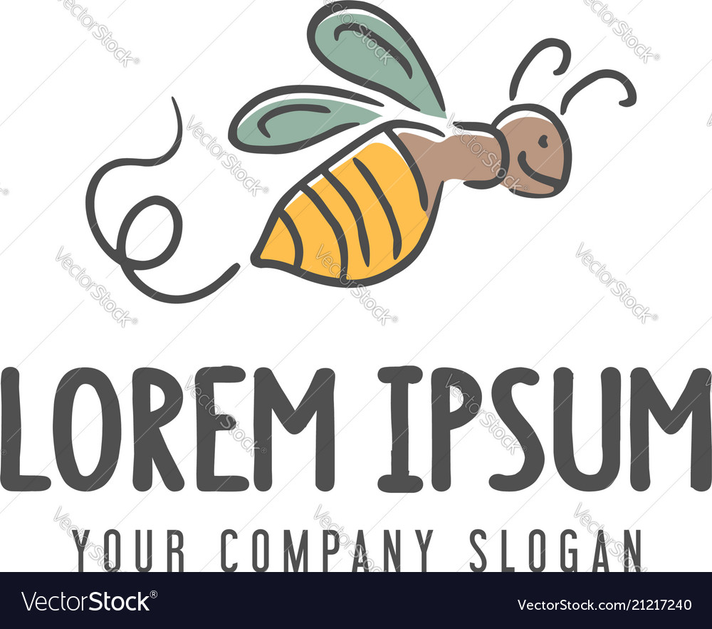 Bee logo hand drawn design concept template