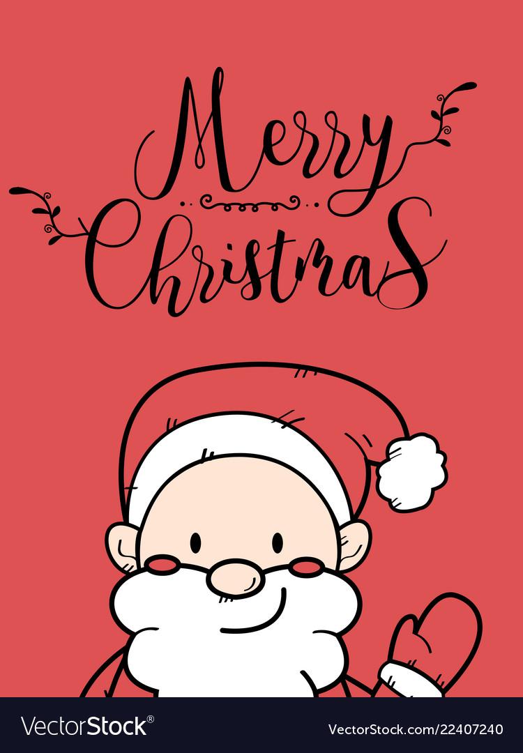 Cute santa claus christmas greeting card