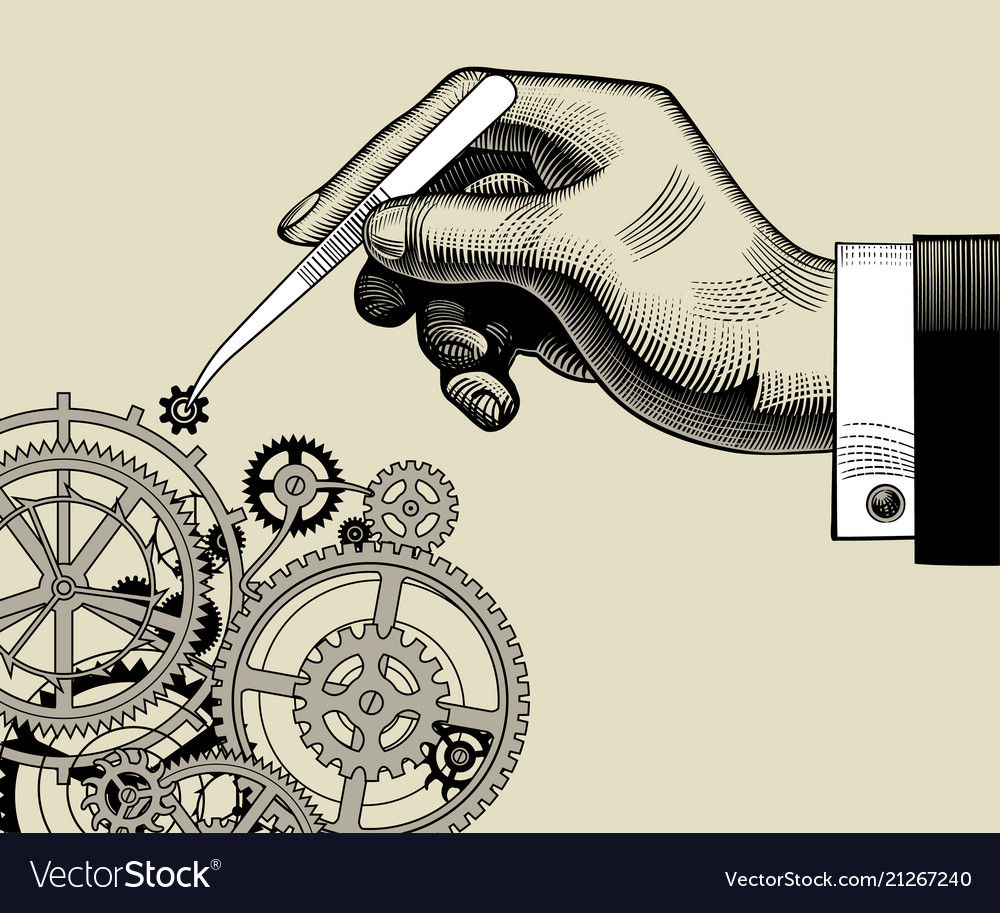 Hand with tweezers and gear wheels of clockwork