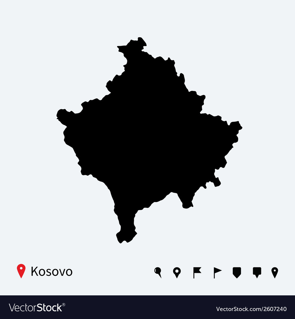 High detailed map of Kosovo with navigation pins vector image