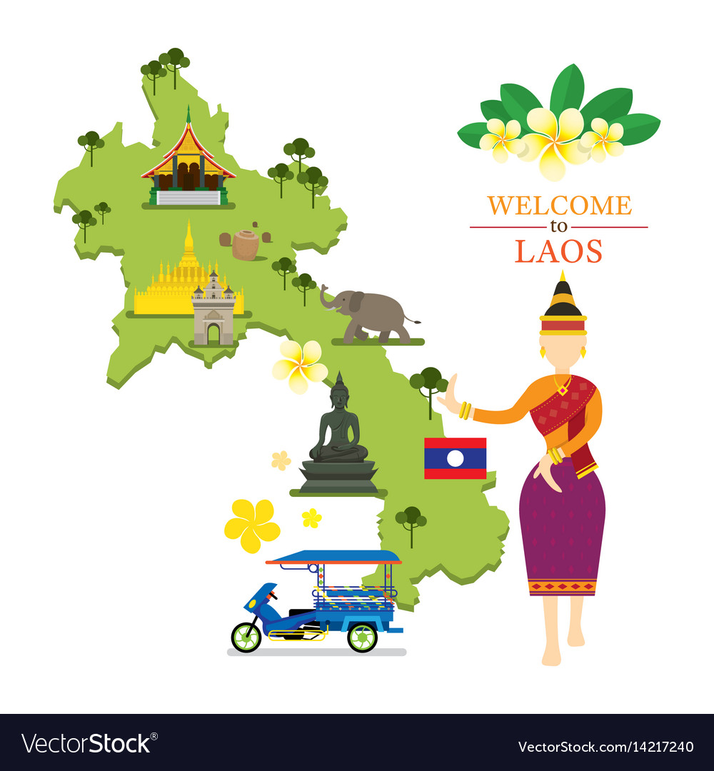 Laos map and landmarks with traditional dancer