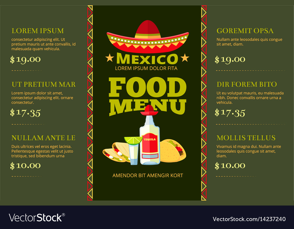 Mexican cuisine food restaurant menu vector image