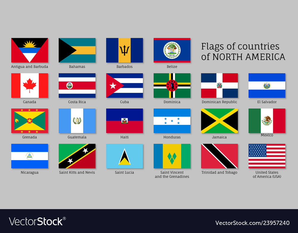 National Countries Flags Of North America Vector Image