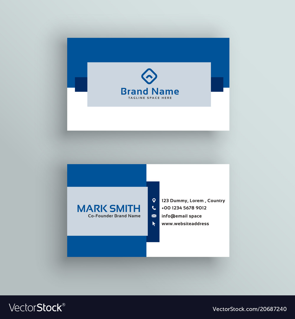 Professional business card design in blue color vector