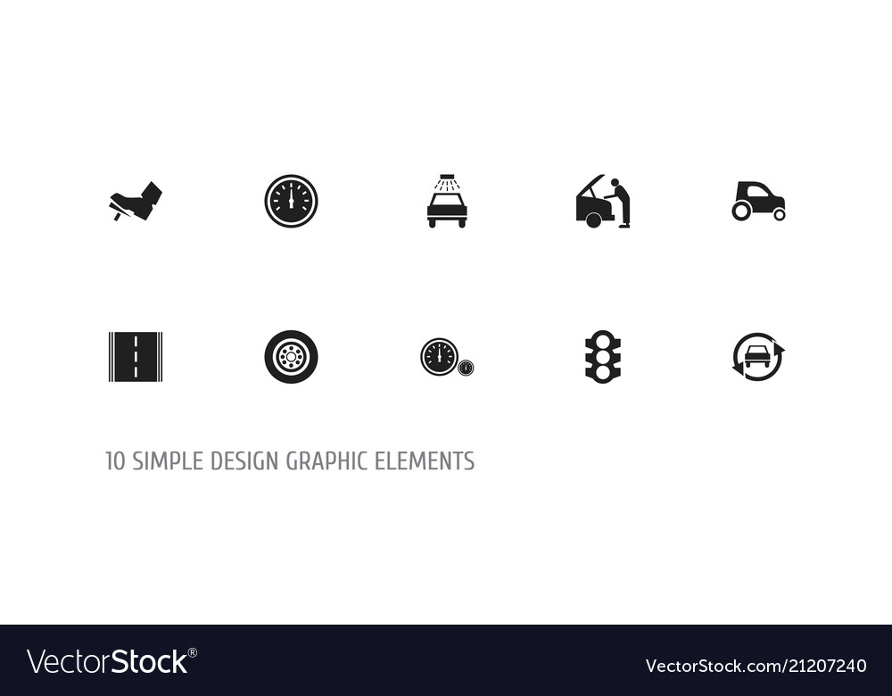 Set of 10 editable transport icons includes vector image