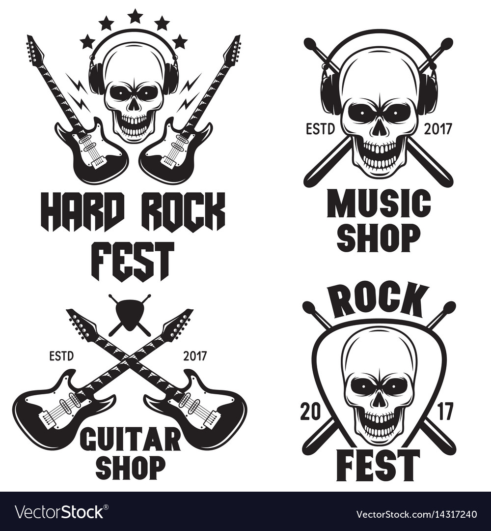 Set of rock and roll music emblems labels badges