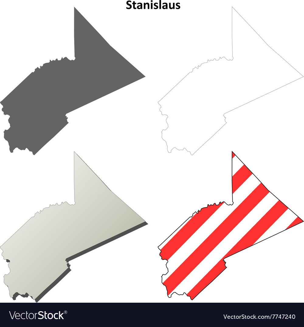 Stanislaus County California Outline Map Set Vector Image