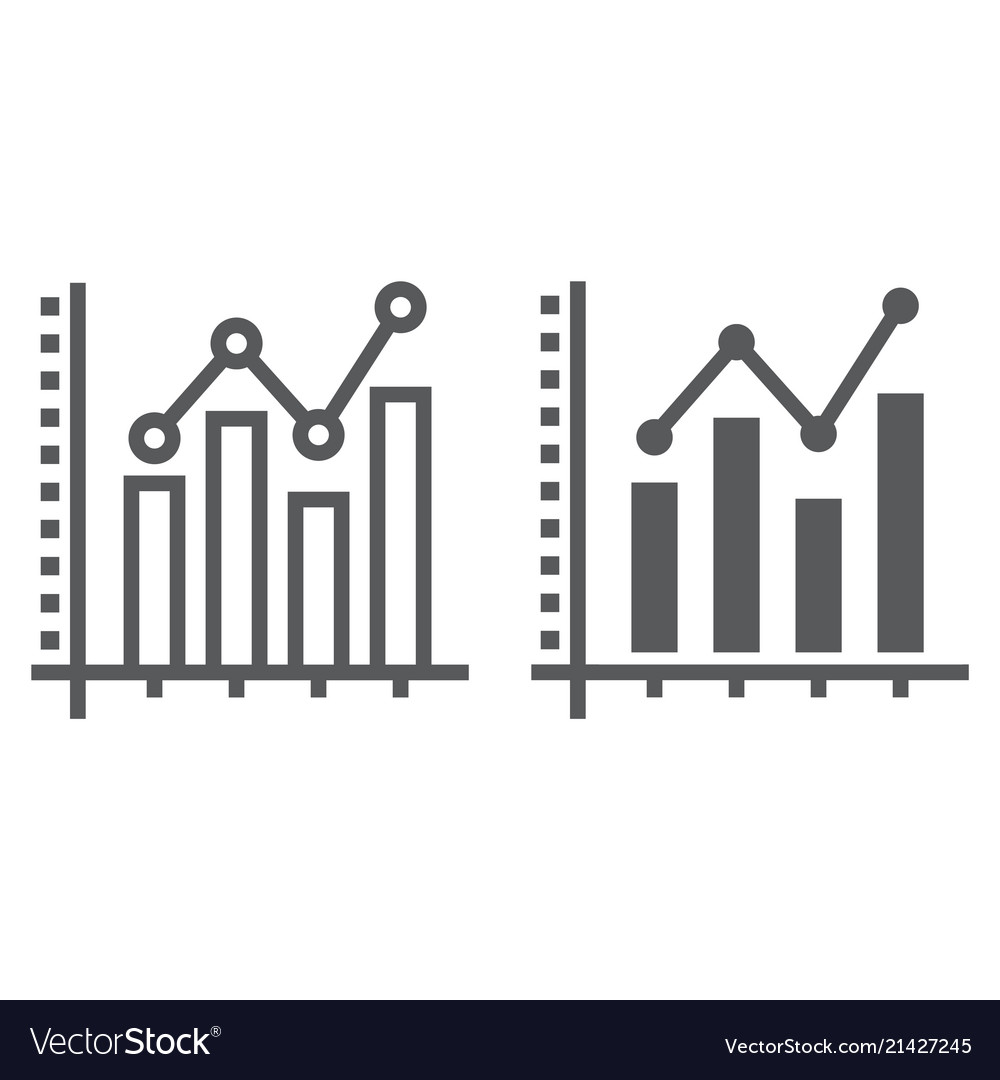 Bar graph line and glyph icon growth