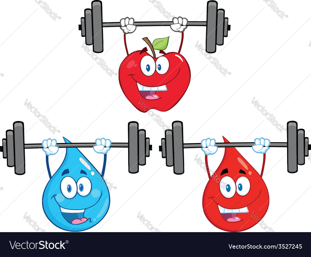 Cartoon characters lifting weights vector image