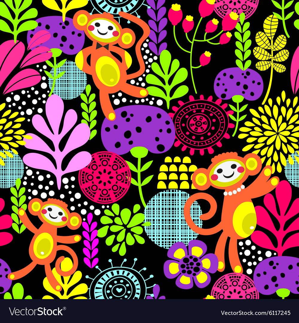 Cute monkey seamless texture with flowers