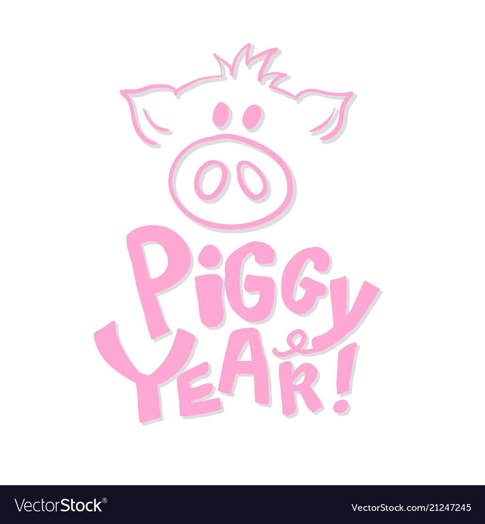 Cute pig snout in pink color with new year 2019