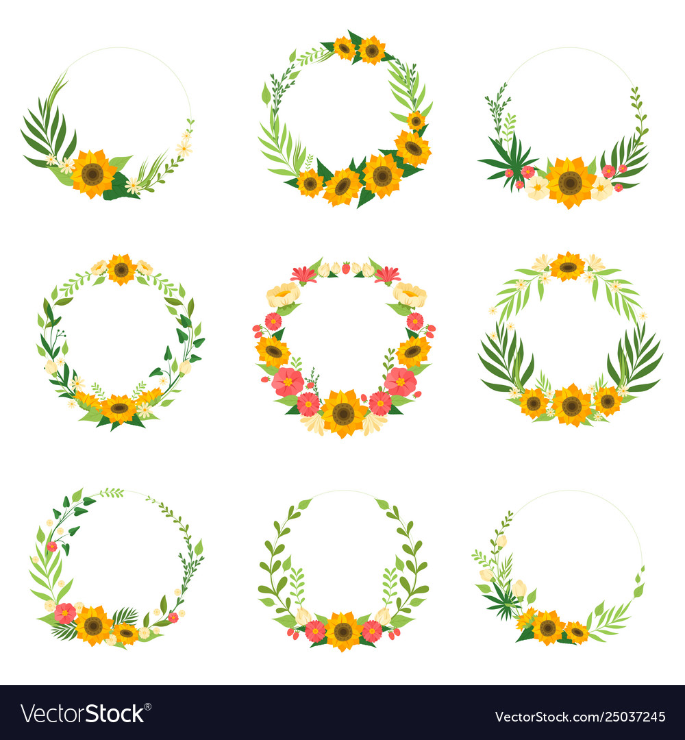 Floral wreath with flowers set circle frames with