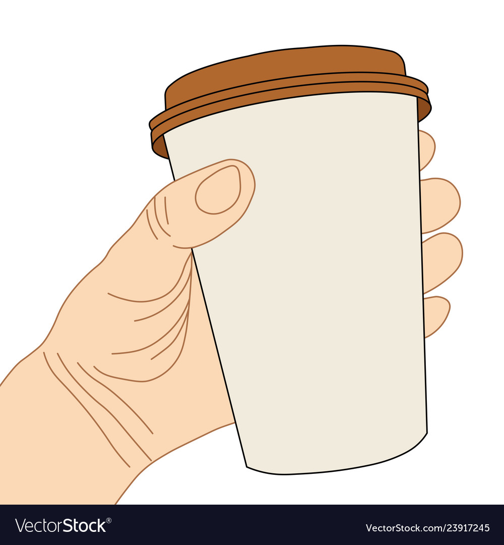 Hand with disposable coffee cup