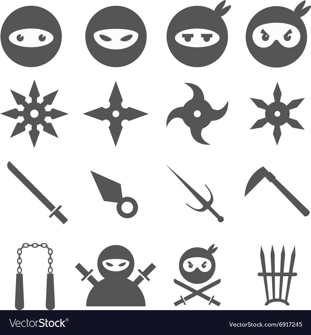 Ninja samurai and weapons icons set