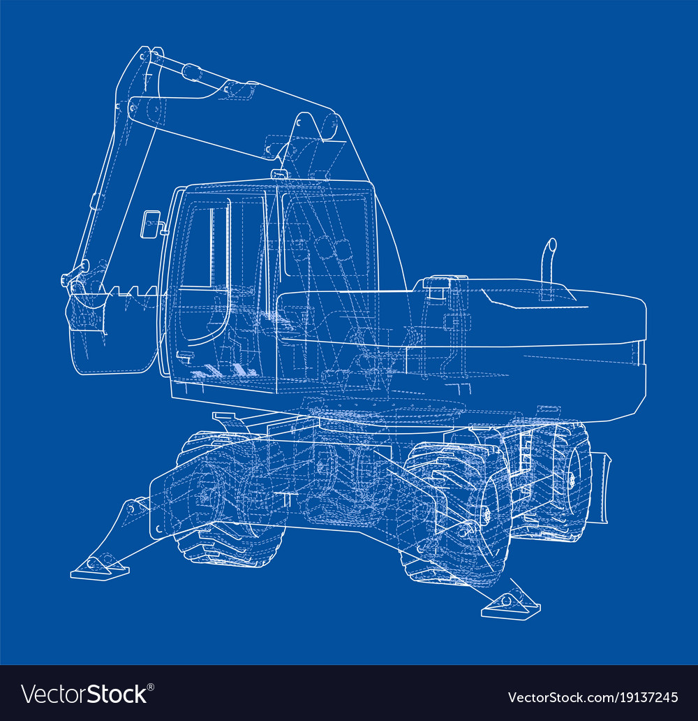 Outline Of Excavator Isolated On White Background Vector Image Schematic