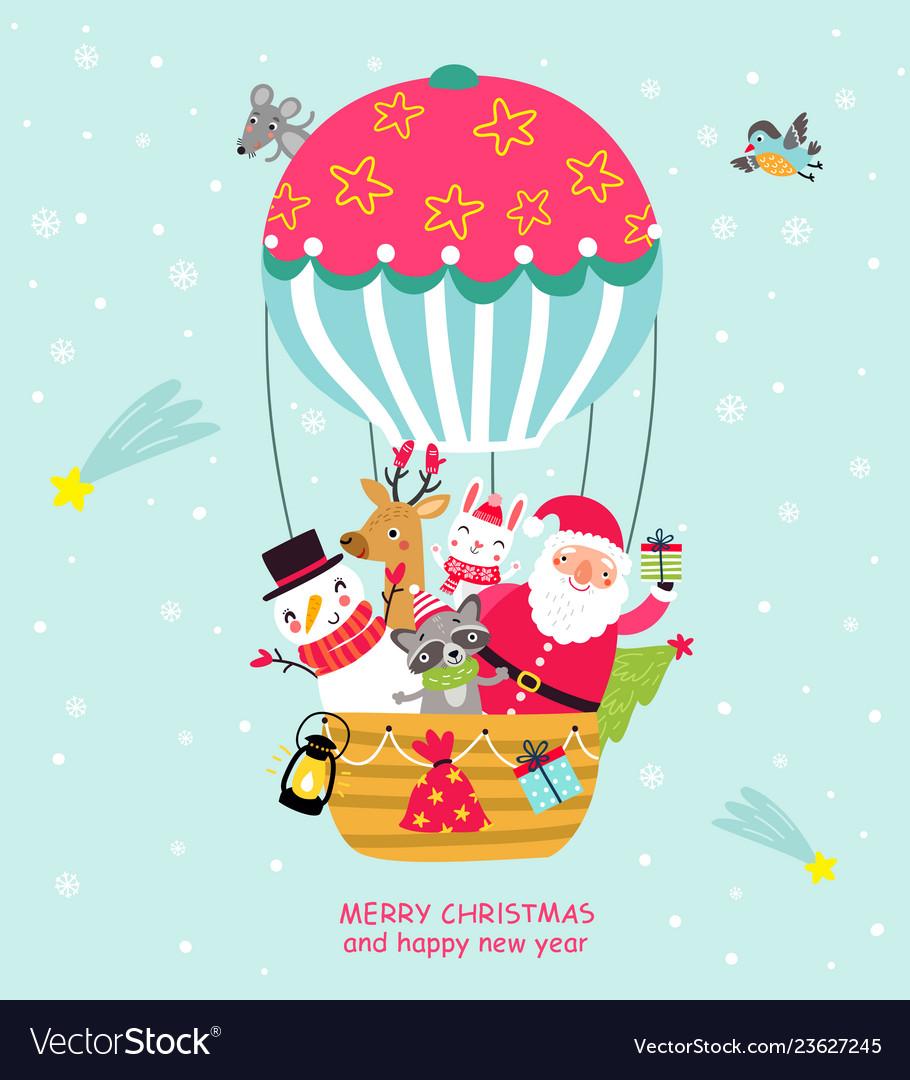 Santa in a balloon christmas card