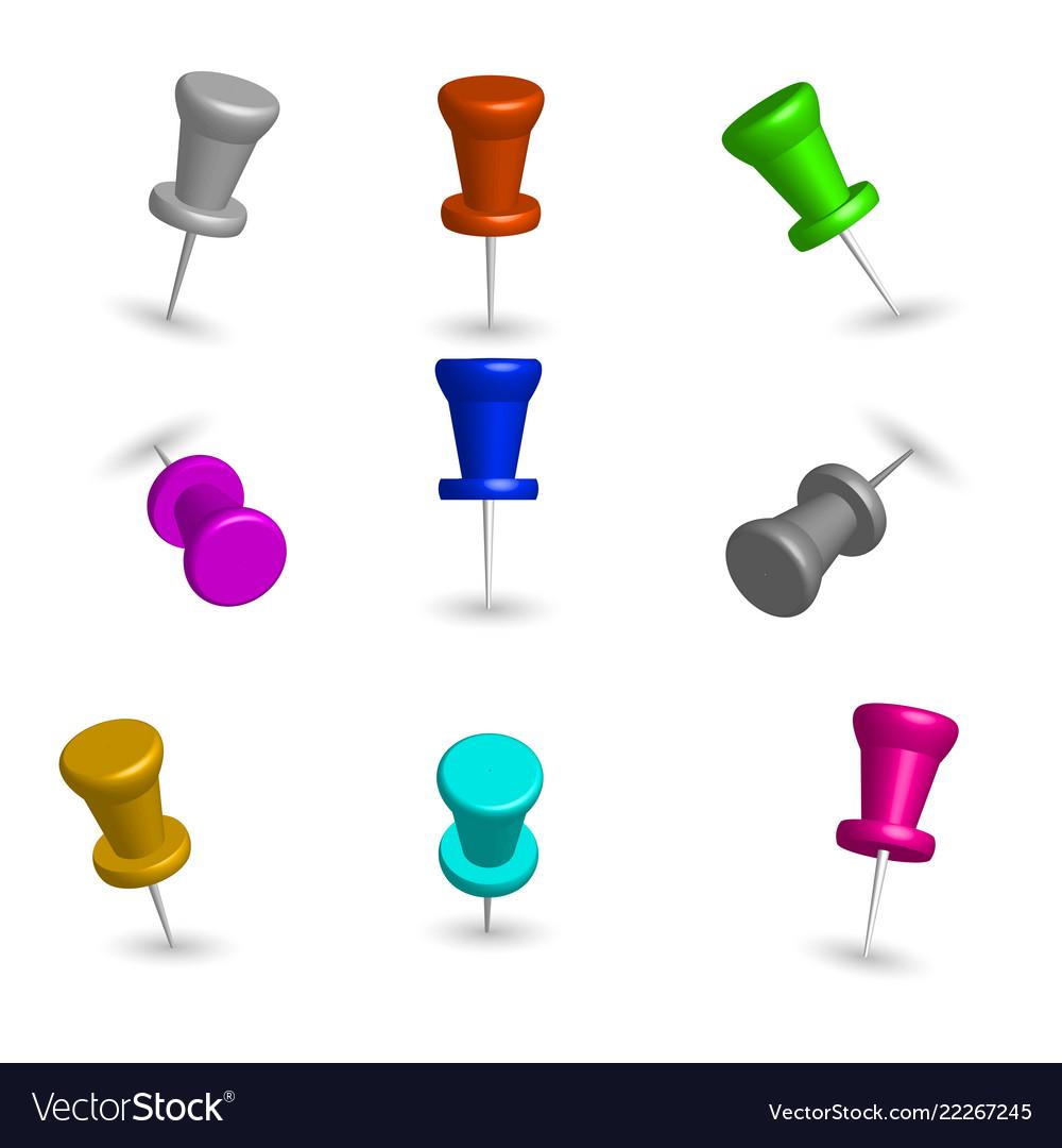 Set of 3d pushpins