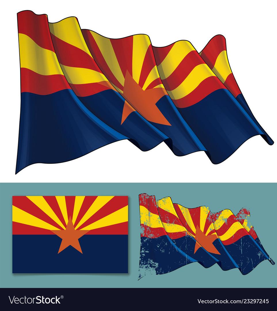 Waving flag of the state of arizona