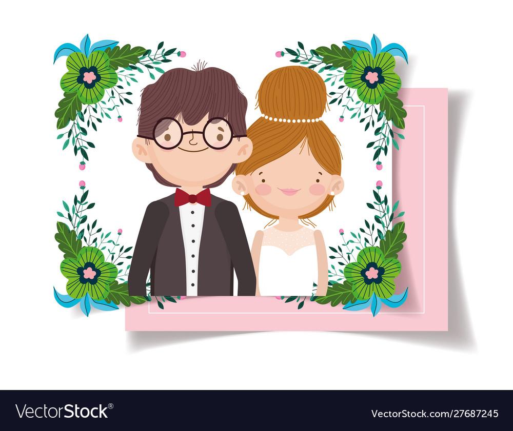 Wedding couple flower foliage decoration party