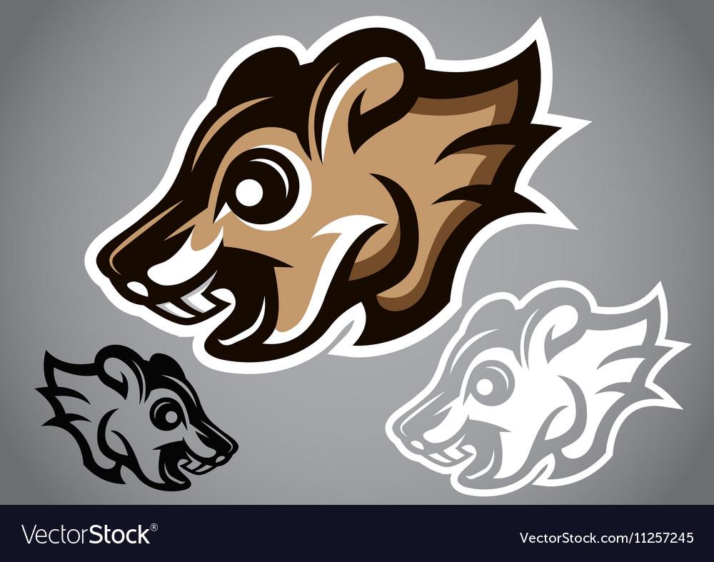 Wild Squirrel head gray logo 2902 vector image