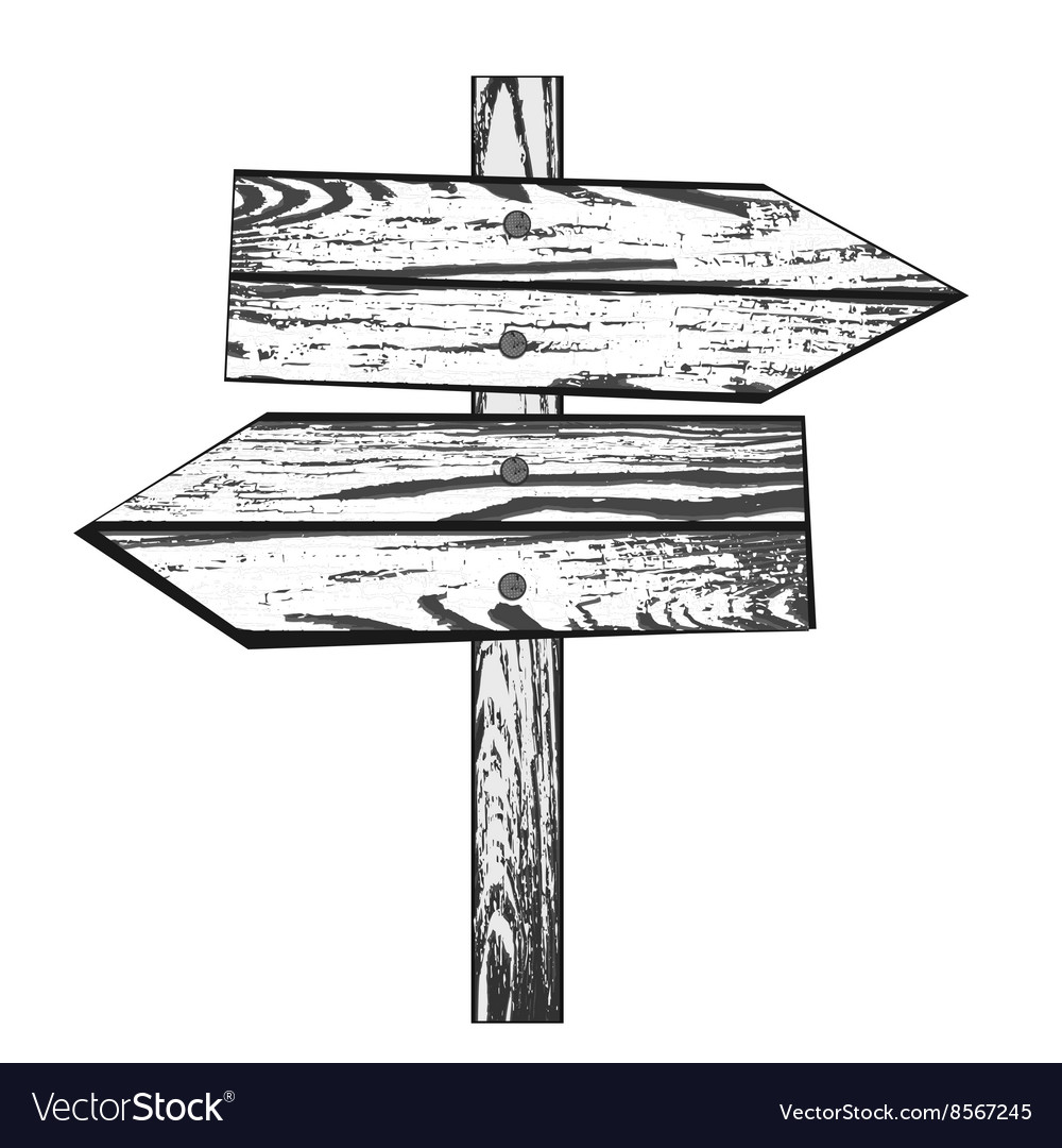 Wooden direction vector image