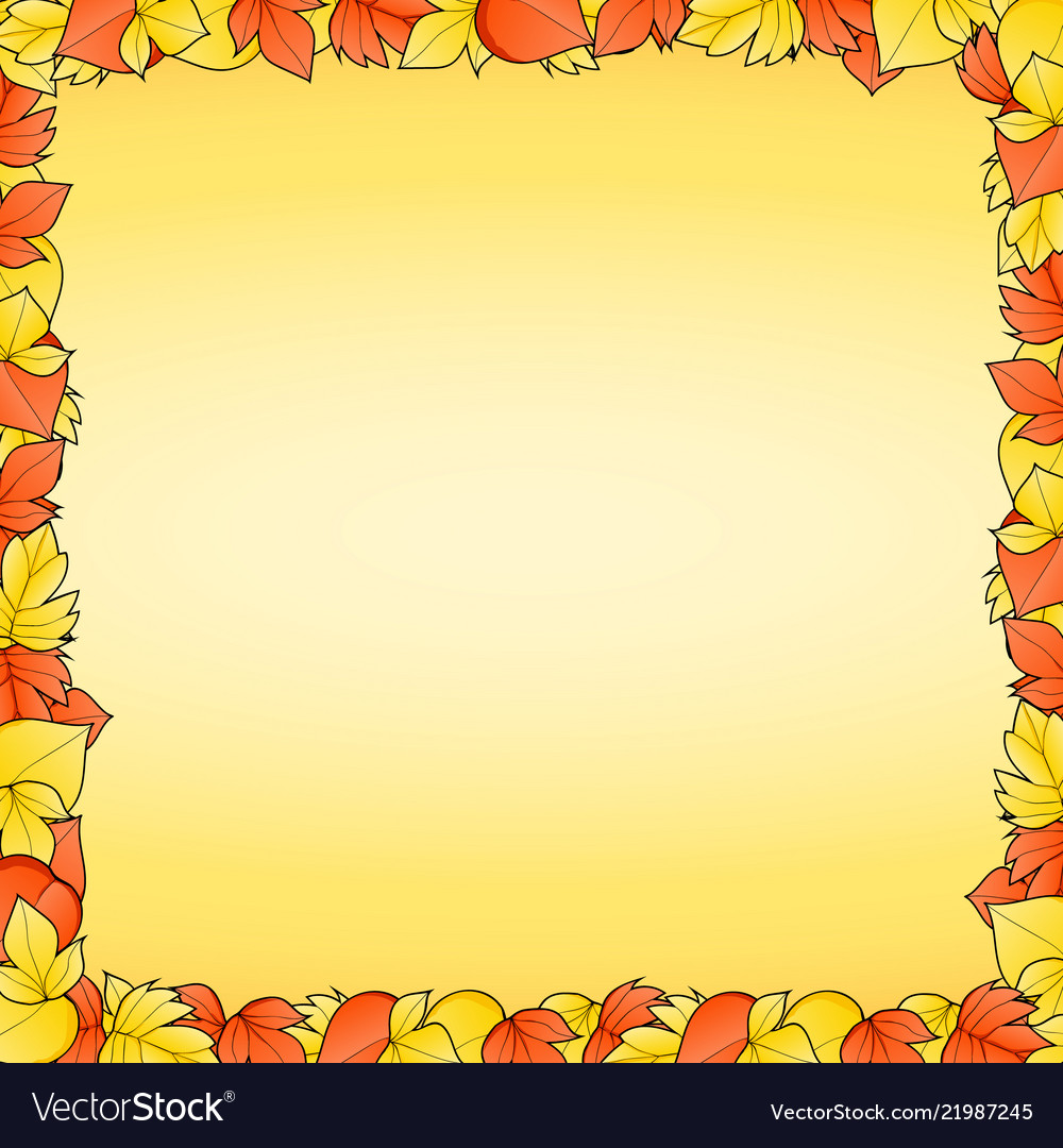 Yellow background with frame of red and autumn