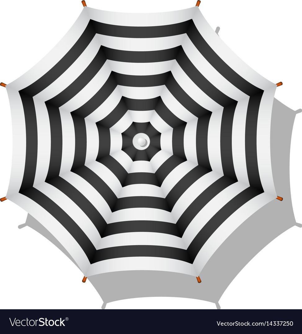 Black And White Striped Beach Umbrella Vector Image