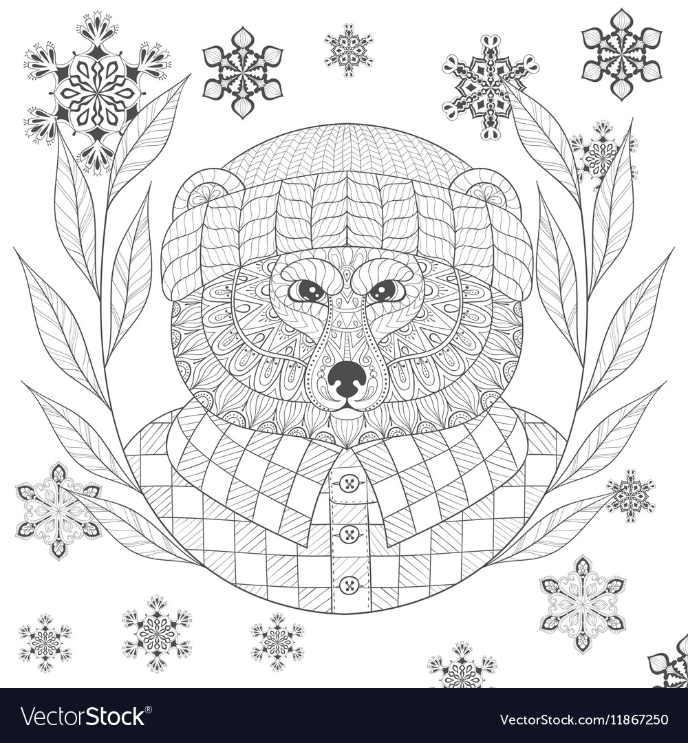 Brutal bear in hat flannel shirt in zentangle
