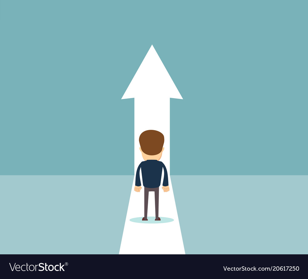 Business growth concept with man walking