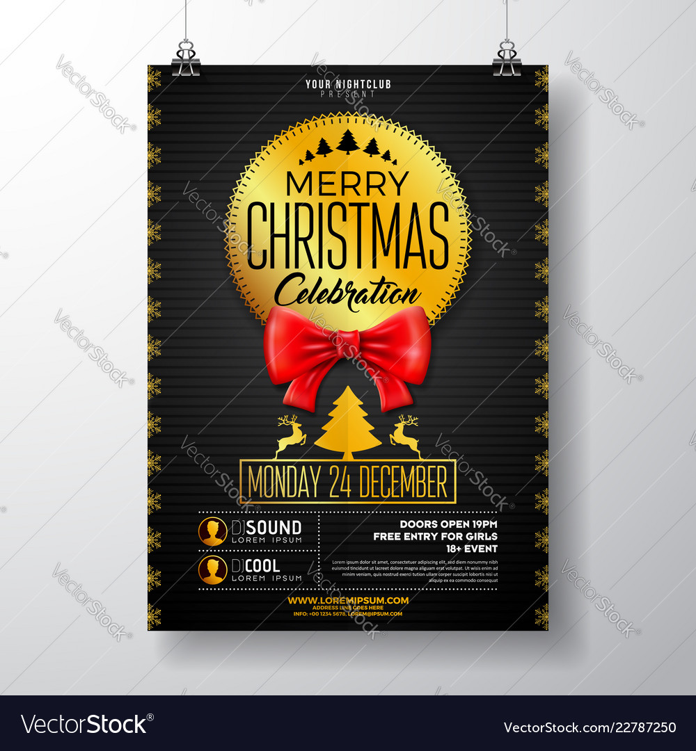 christmas party flyer with red bow royalty free vector image