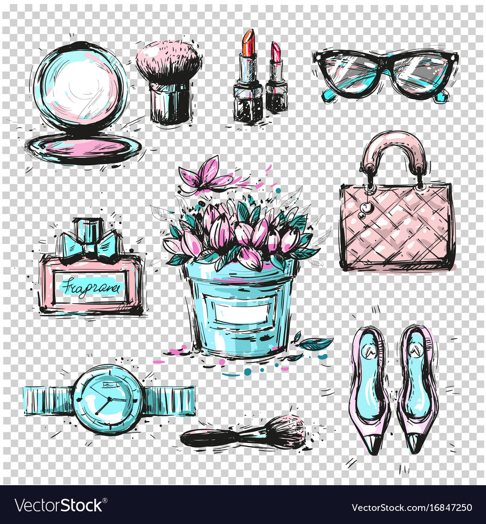 3d10a97406e Fashion sketch collection of women accessories