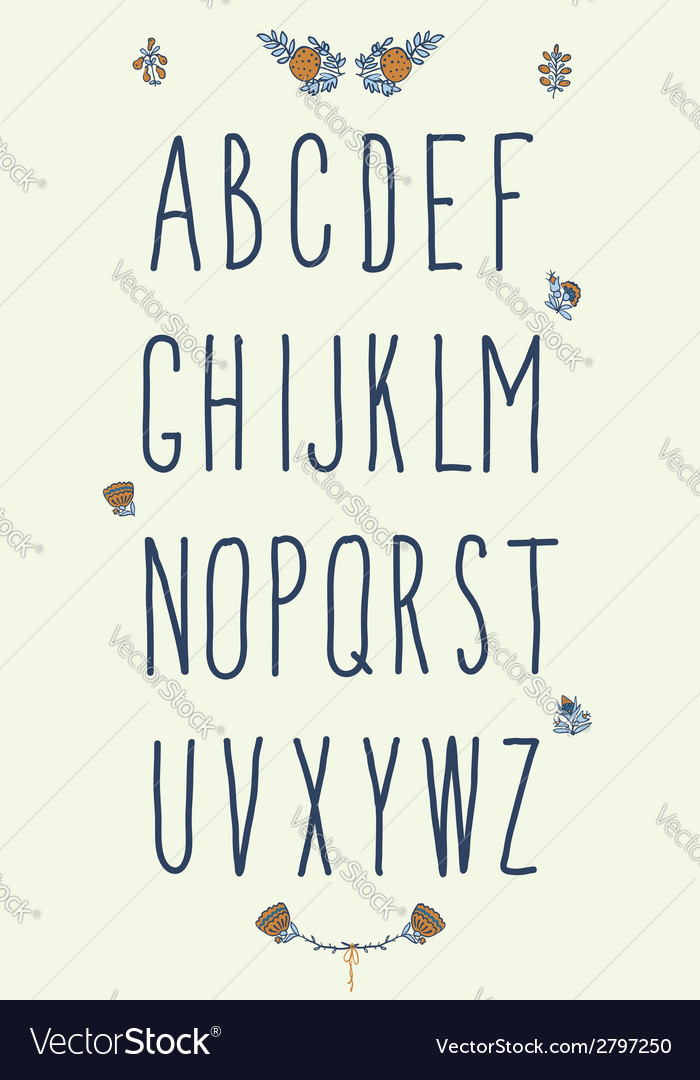 Hand drawn sketch alphabet Handwritten font