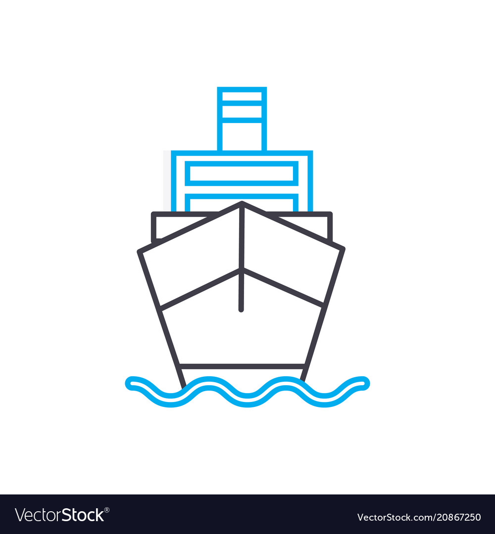 Motor vessel thin line stroke icon motor