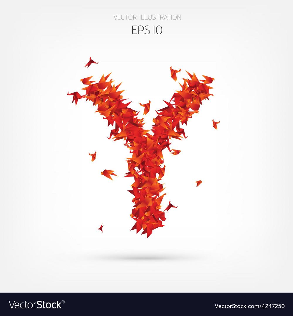 Origami paper birds alphabet Letter y