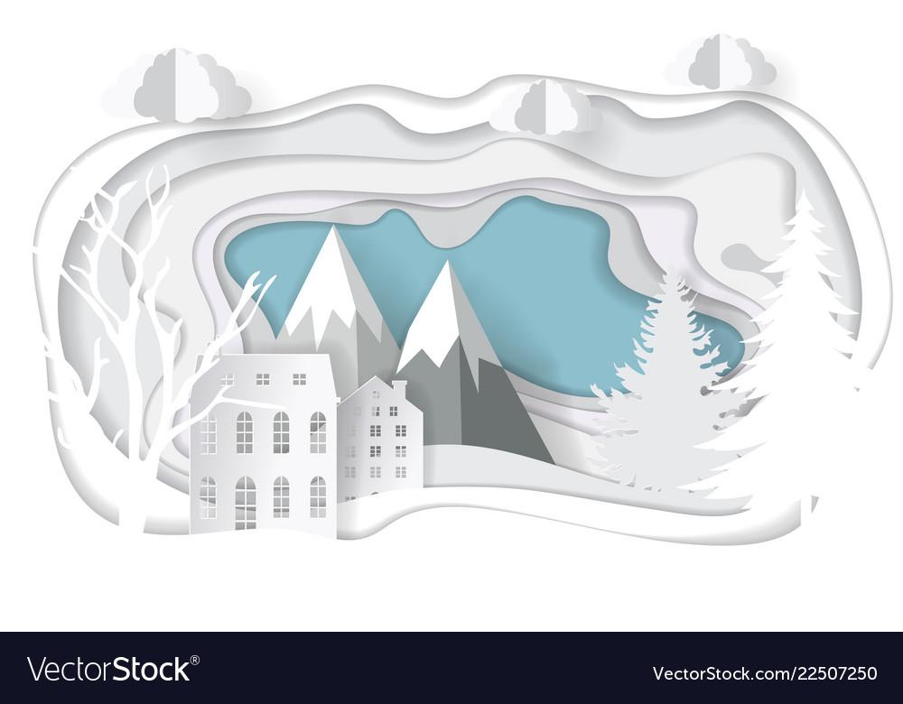 Paper art christmas template