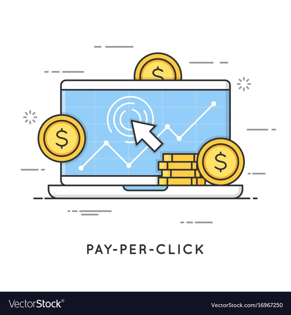 Pay per click internet marketing flat line art