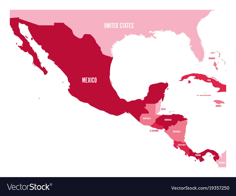 Political map of central america and mexico in vector image on VectorStock