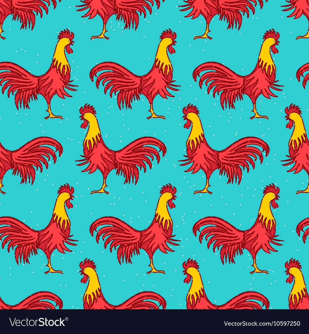 Rooster seamless pattern