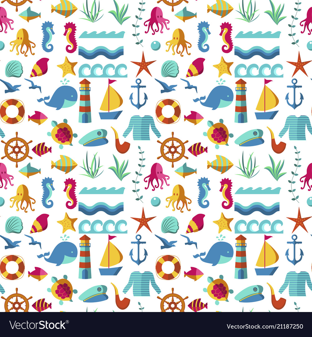 Seamless patterns with nautical elements wave