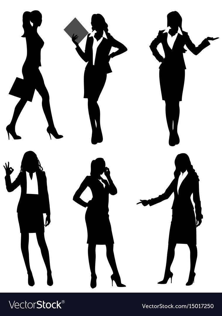 Six businesswomen silhouette