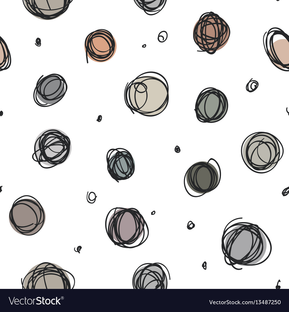 Sloppy circles random doodle dots seamless pattern