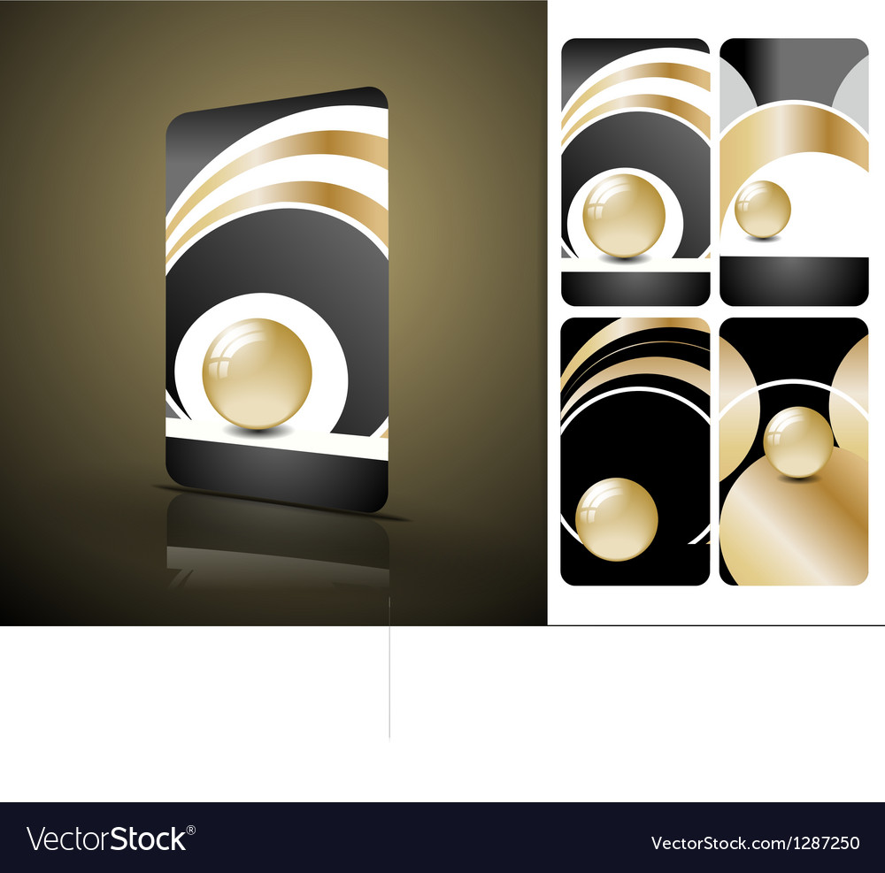 Vertical black and golden business cards