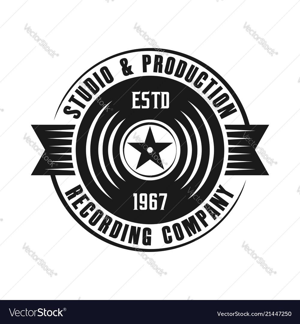 Vinyl music emblem isolated on white background