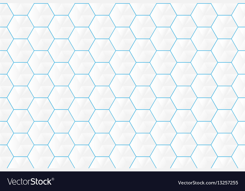 Abstract white hexagons and blue lines seamless